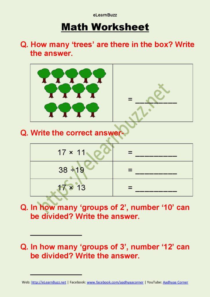 Math Worksheet For Class 2 - Part 2 - ELearnBuzz